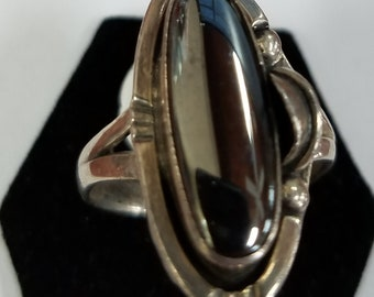 Sterling Silver and Hematite Ring Size 9 1/2