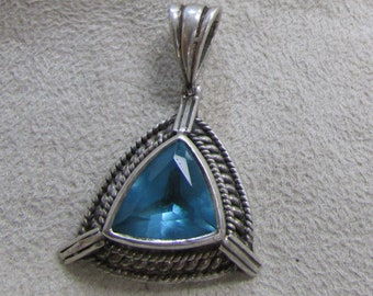 Sterling Silver and Faceted Blue Stone Pendant
