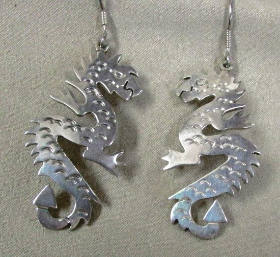 Sterling Silver Dragon Wire Dangle Earrings