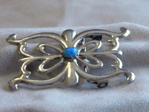 Sterling Silver Sandcast Buckle withTurquoise