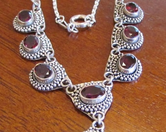Sterling Silver and Faceted Garnet Necklace