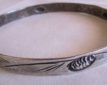 Sterling Silver Bangle Bracelet with Pine Cone Design