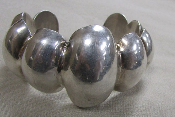 Mexico Puffed Sterling Silver Cuff Bracelet