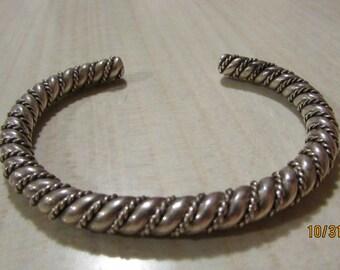 Heavy Sterling Silver Twisted Wire Cuff Bracelet