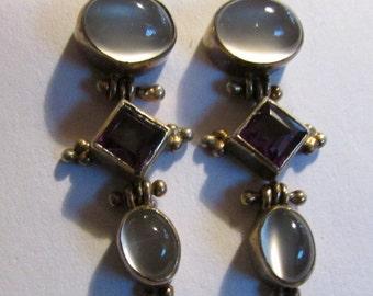 Sterling Silver Moonstone and Amethyst Dangle Earrings