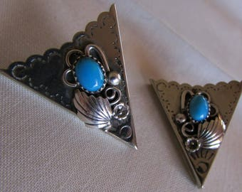 Nickle Silver and Turquoise Southwest Collar Tips
