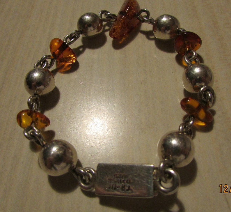 Amber and Sterling Silver Balls Link Bracelet TA-116 Mexico
