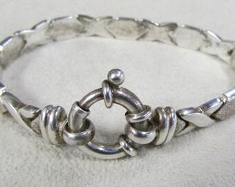 Sterling Silver XOXO Link Bracelet Milor Italy