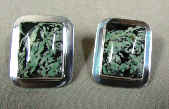 Sterling Silver and Green Rectangular Stone Post E