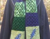 Lightening bolt grateful dead scarf with pockets