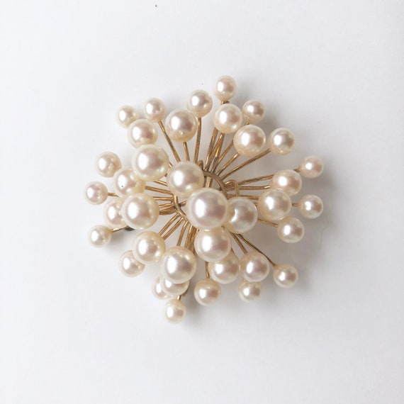 Vintage Pearl Brooch, Antique Jewelry, Pearl Pin - image 1