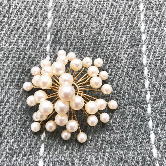 Vintage Pearl Brooch, Antique Jewelry, Pearl Pin - image 8