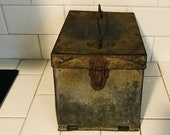 Antique Postal Worker Field Box Travel Metal Fold out desk 1923 latch front handle top post office display farmhouse collectible storage