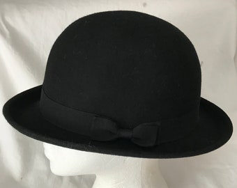3968be4aa6e Vintage Hat Men s Women s Unisex wool black Derby Bowler Hat Black gross  grain size 7 hipster atomic mod retro collectible winter hat