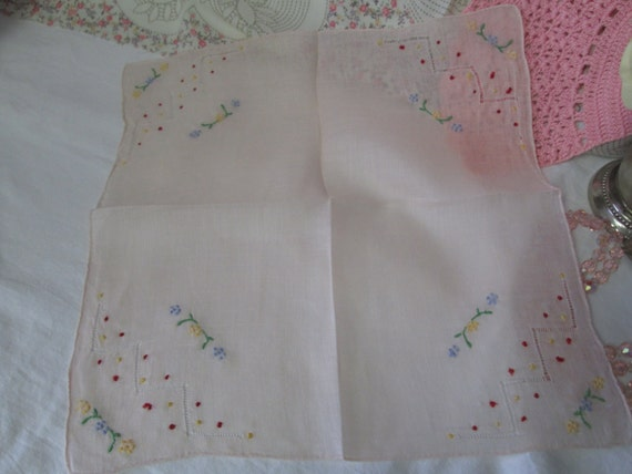 beautiful communion handkerchief or confirmation Art Deco handkerchief hand embroidered vintage French