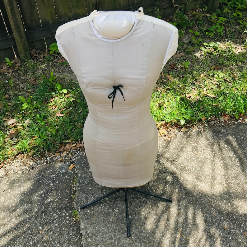 Vintage Torso Display Dressmakers Body Mannequin Antique Foam slip covered body with zipper sewing clothing display on metal stand size 12