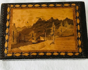 Vintage Inlaid Farm Scene trees and mountains Wooden Jewelry Storage Box handcrafted home decor Intricately carved box