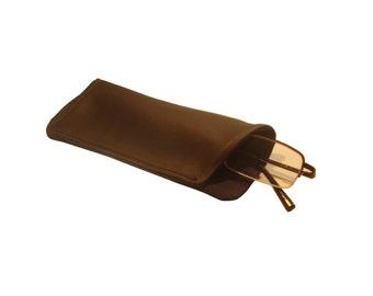 Black leather glasses case/ Soft eyeglass case/ Men' s glasses case/ Fathers day gift/ Unisex glasses case