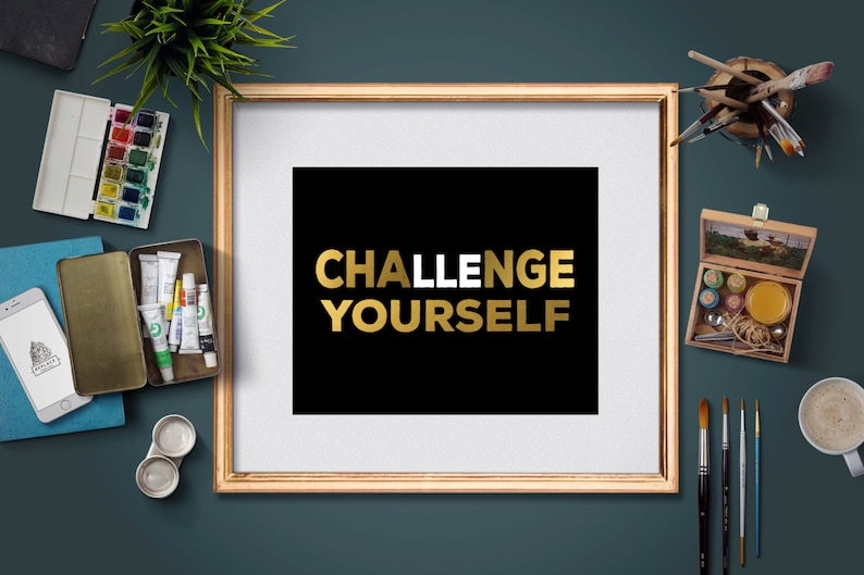 Challenge Yourself to Change - Motivational Fitness Posters- Workout Quotes  - Printable gym posters - 8x10 and 5x7 instant download