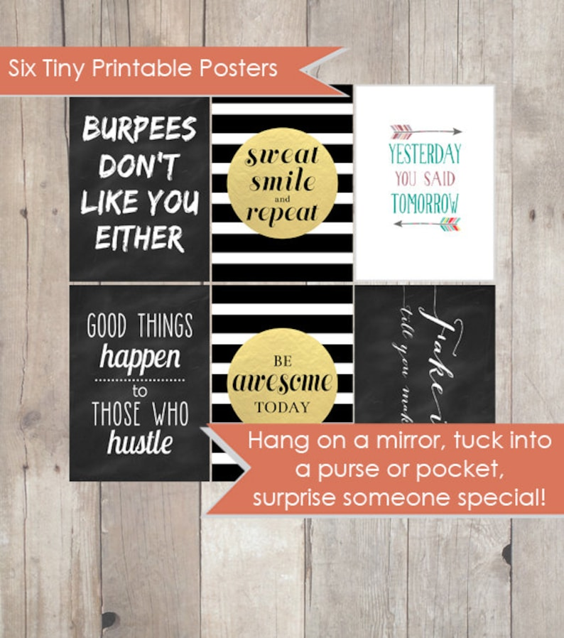 MotoQuotes - Tiny printable fitness posters - workout motivation - 6  printable posters - gym, weight loss encouragement