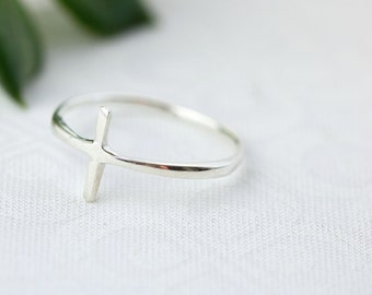 True Love Waits, Purity Ring, TLW, Sterling Silver Cross Ring, Christian Rings, Sterling Silver Ring For Women, Thin Silver Cross Ring,