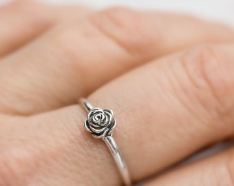 Solid handmade Sterling Silver small Rose Ring simple design