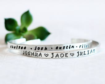 542b87e3f Name Bracelet For Mom, Personalized Jewelry For Mom, Jewelry For Mom,  Custom Jewelry For Grandma, Silver Engraved Cuff, Kids Names Jewelry