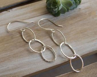 Sterling Silver Hoop Earrings, Classic Everyday Hoops, Fine Silver Earrings,  Dangle Earrings, Triple Hoop Earrings