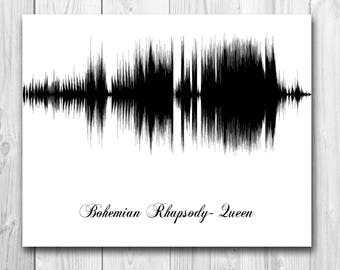 Custom Song Soundwave Art- Anniversary Gift, Wedding Gift, Keepsake, Home Decor, Boy/Girlfriend Gift, Paper Anniversary