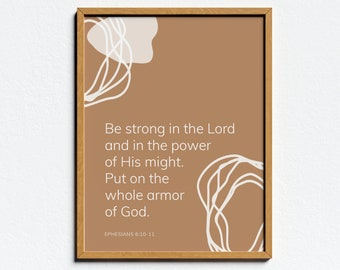 Boho Scripture Wall Art, Be strong in the Lord...Put on the armor of God, Ephesians 6:10-11, Boho Abstract Print in Terracotta