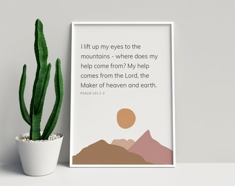 I Lift My Eyes To The Mountains Psalm 121 Wall Art | Scripture Print with Modern Boho Abstract Mountains and Sun