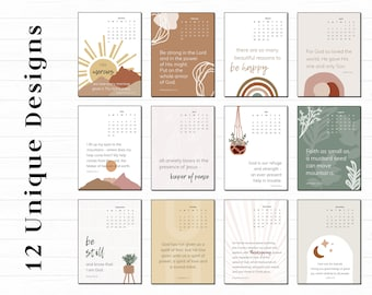 Boho Printable Calendar for 2022 with Bible Verses | 5x7 and Letter Size