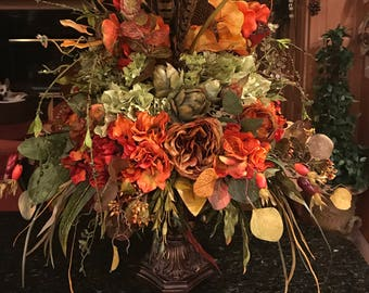 SOLD Reserved For VM,Large Luxury Tuscan Arrangement,Large Elegant Table  Centerpiece,Luxury Tuscan Decor,High End Silk Floral Centerpiece
