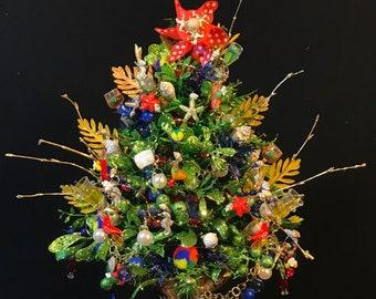 small lighted beach treemargarita glass mini lighted christmas treebeach ornamentbeach christmasbeach jewelrybeach decorbeach wedding - Small Lighted Christmas Tree