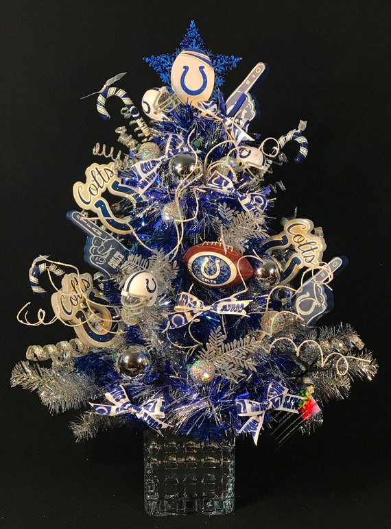 Small Silver Christmas Tree.Indianapolis Colts Christmas Tree Indianapolis Colts Decorated Christmas Tree Colts Christmas Decoration Indianapolis Colts