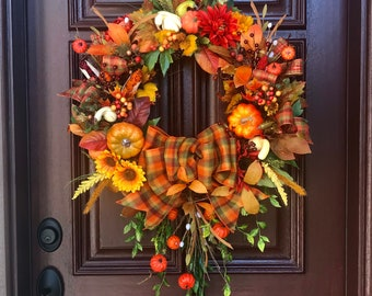 Fall Pumpkin grapevine door wreaths,faux pumpkin Fall Wreaths,Pumpkin door Wreath,Unique Fall Wreath,Fall Double door wreaths,fall decor