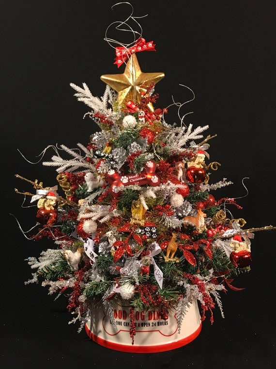 image 0 - Small Lighted Doggie Christmas TreeDog OrnamentsMiniature Etsy
