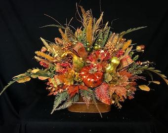 Lighted Fall Arrangement,Thanksgiving Table Centerpiece,Fall Wedding Arrangement,Fall Flower Arrangement,Pumpkins,Gourds,Fall centerpiece
