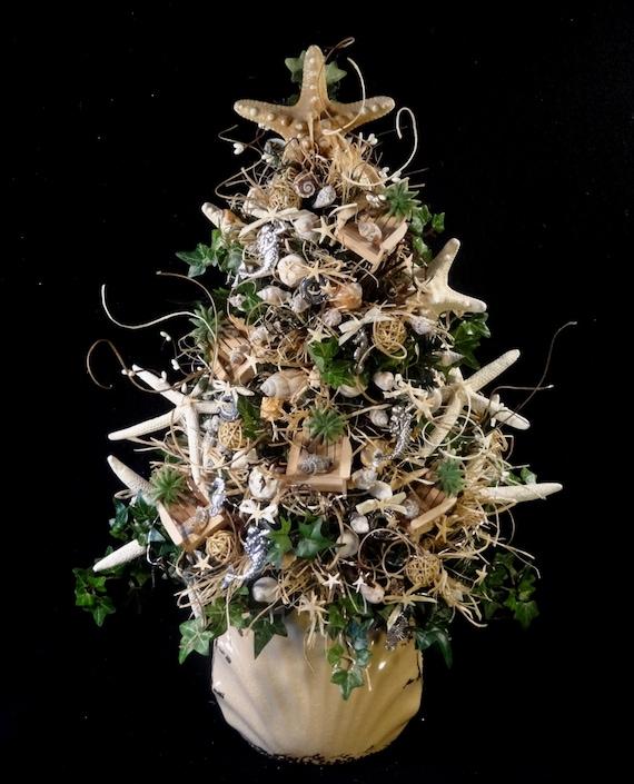 Beach Themed Christmas Ornaments.Beach Christmas Tree Nautical Christmas Tree Shell Christmas Tree Beach Decoration Ocean Decor Shell Decorations Beach Christmas Trees