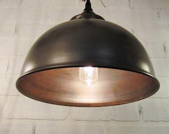 Pendentif en forme de dôme en métal Eclairage - éclairage, suspension, ferme, éclairage de cuisine, éclairage rustique, plafonnier, lustre rustique