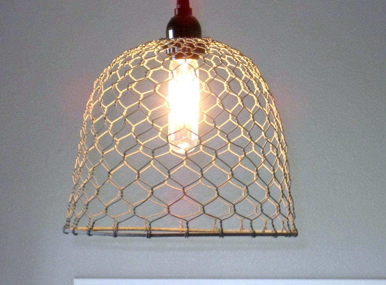 Rustic Pendant Lighting-chicken wire farmhouse pendant | Etsy