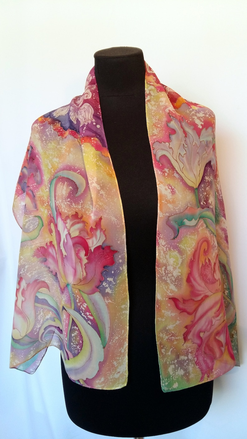 Silk Scarf Tulips Hand Painted Painting On Silk Flowers Etsy
