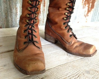 Frye Boots Womans Vintage Black Label Laceup Size 6.5 B Made In U.S.A. Free Shipping inside U.S.