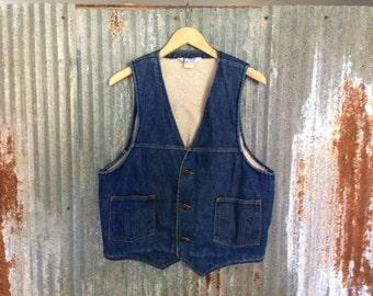 Denim 1970s Dickies Vest Vintage Blue Denim Size Large Made In The USA