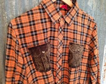 Men's Flannel Shirt Medium - Lumber Jack Style Orange Plaid - Axe Man Flannel - Chainsaw Wood Chopper Flannel - Vintage Flannel - Free Ship