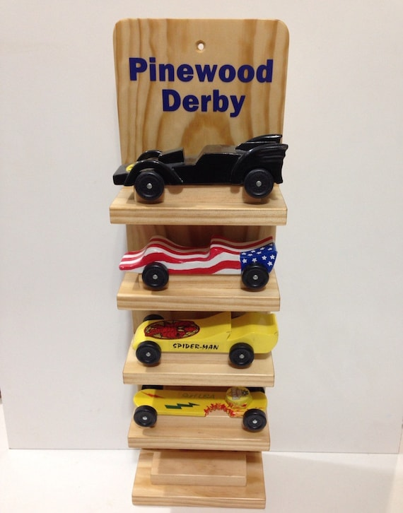 Pinewood Derby Car Five Shelf Display CubScout GirlScout Etsy Custom Pinewood Derby Display Stand Plans