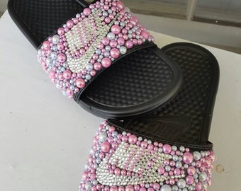 1a30ce409e17ae Pearls and Rhinestones covered Nike Slides