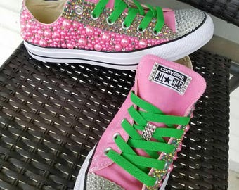 32705107c342 Custom Pearls and Rhinestone Converse (Outter Side ONLY)