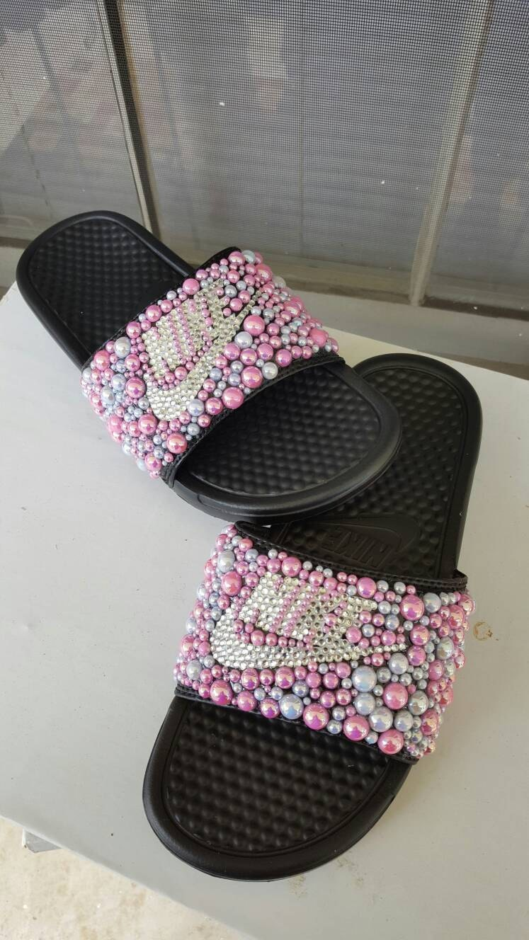 8e4bfb8ee519 Pearls and Rhinestones covered Nike Slides