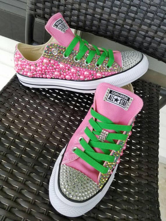 f7a460a6460 Custom Pearls and Rhinestone Converse Outter Side ONLY
